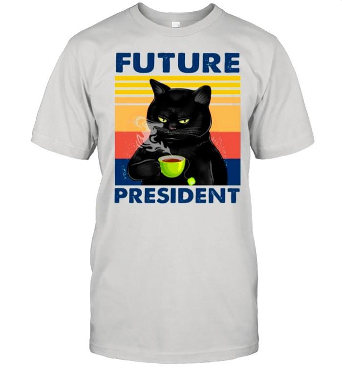 Retro Black Cats Drink Coffee Future President shirt Classic Men's T-shirt
