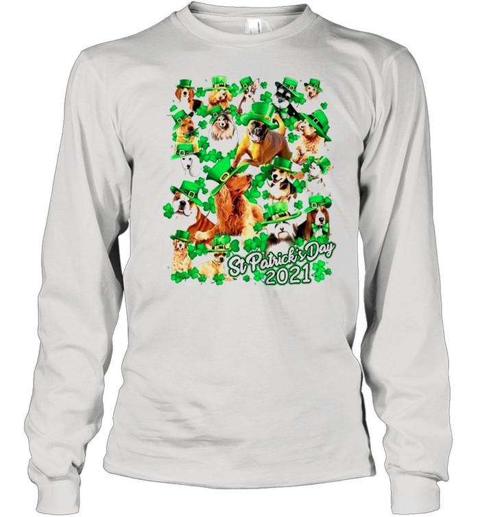 Dogs Happy St Patricks Day 2021 shirt Long Sleeved T-shirt
