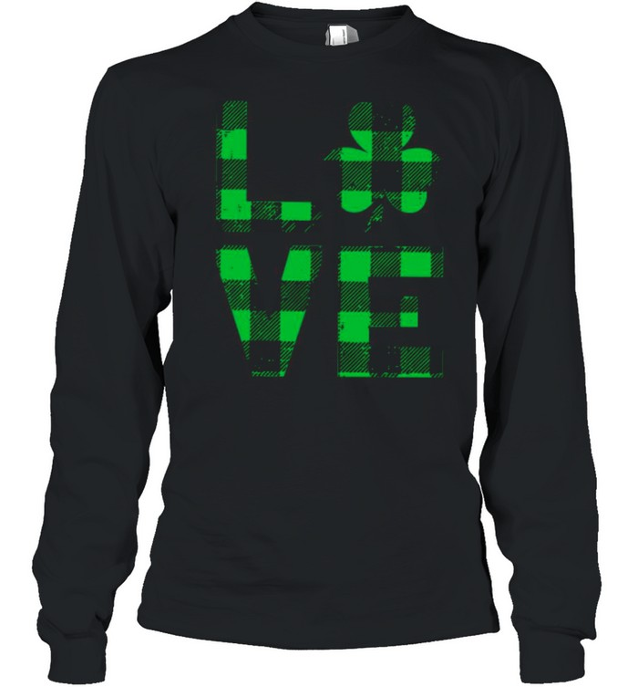 The Love With Happy St Patricks Day 2021 Plaid shirt Long Sleeved T-shirt