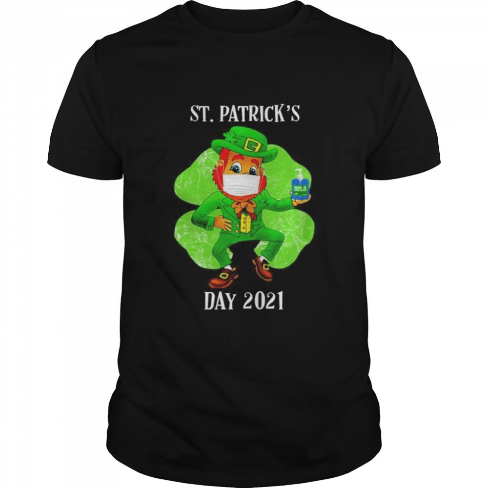 Leprechaun wearing face mask hand wash St Patrick's Day 2021 shirt Classic Men's T-shirt