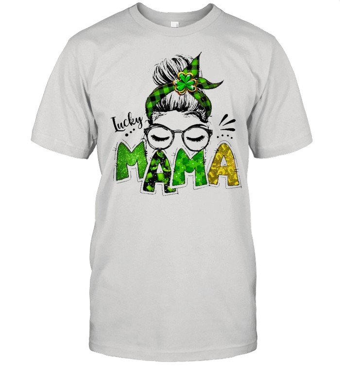Lucky Mama Woman Face With Glasses Bandana St Patricks Day  Classic Men's T-shirt