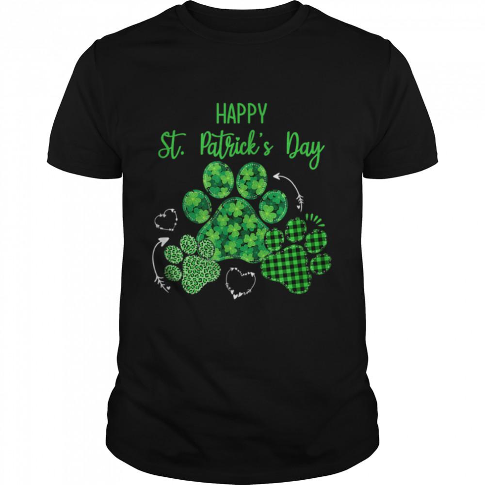 Leopard Print Three Dog Paws Happy Saint Patricks Day shirt Classic Men's T-shirt