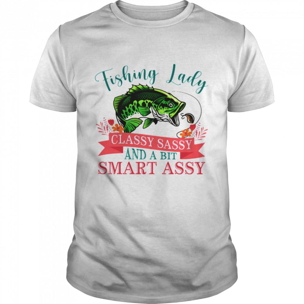 Fishing Lady Classy Sassy And A Bit Samrt Assy Flower  Classic Men's T-shirt