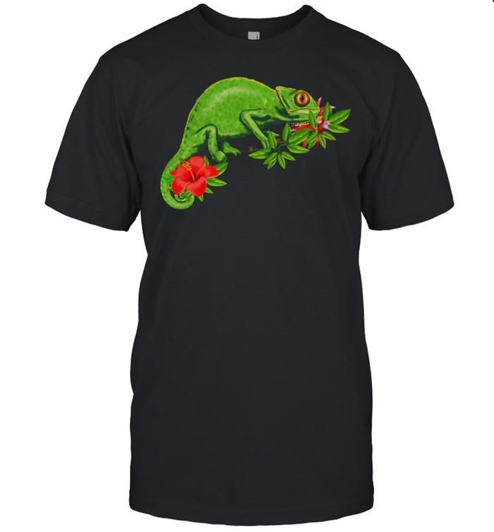 Chamäleon Blumen tropisch Reptil shirt Classic Men's T-shirt