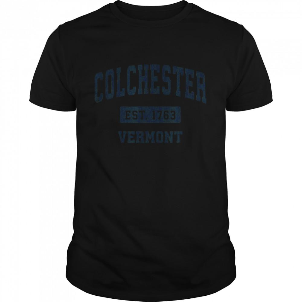 Colchester Vermont VT Vintage Sports Design Navy shirt Classic Men's T-shirt