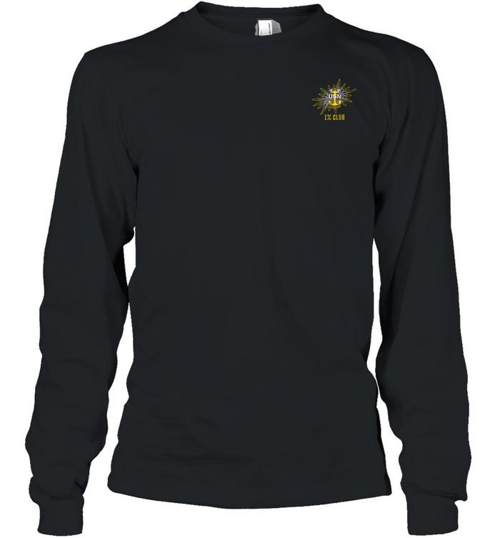 1% Club Navy Master Chief E9 MCPO Pride Long Sleeved T-shirt