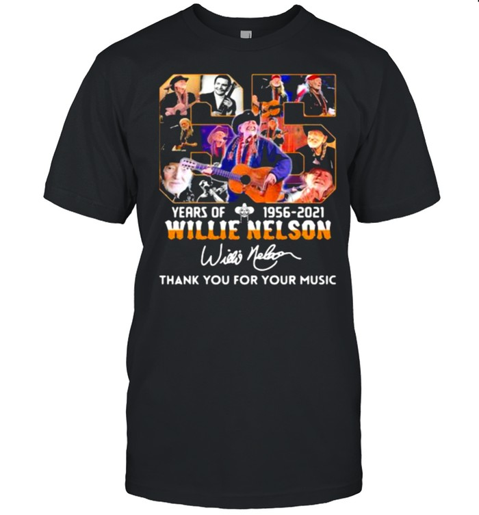 65 years of 1956 2021 Willie Nelson thank you for the memories signature shirt Classic Men's T-shirt