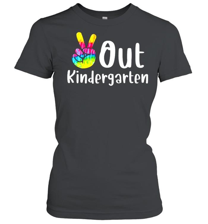 Peace out kindergarten tie dye graduation class of 2021 shirt Classic Women's T-shirt