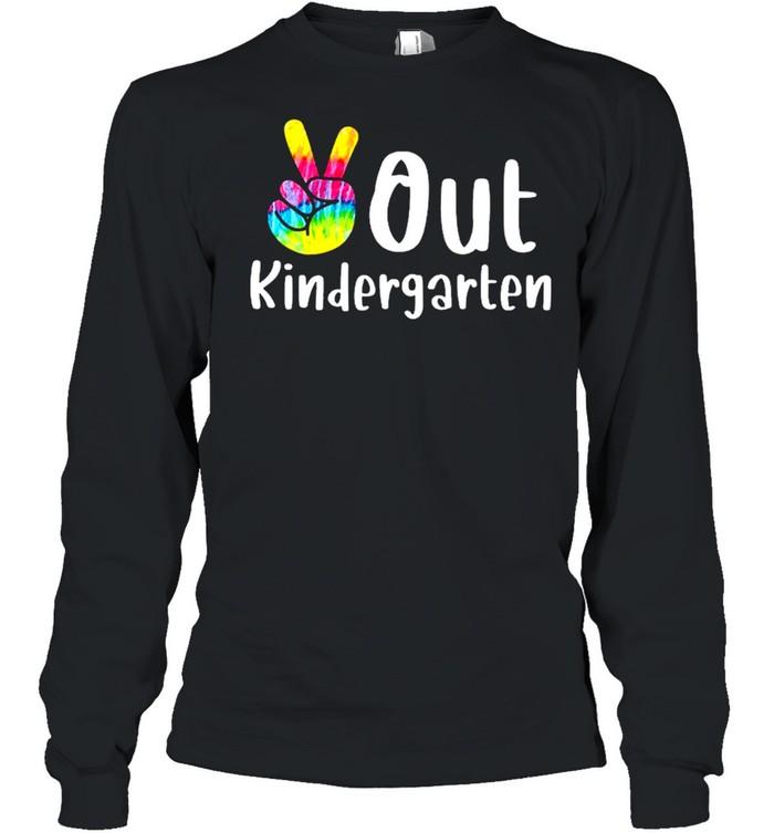 Peace out kindergarten tie dye graduation class of 2021 shirt Long Sleeved T-shirt