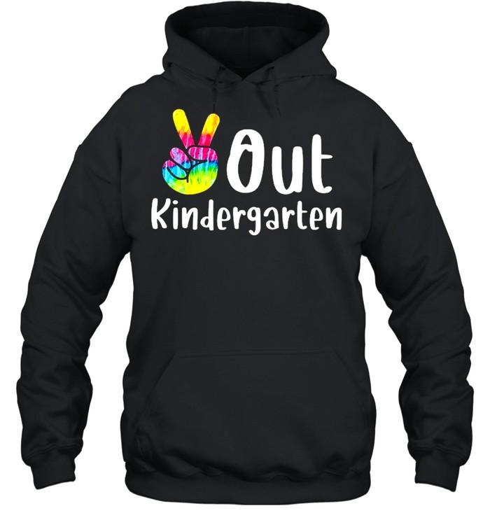 Peace out kindergarten tie dye graduation class of 2021 shirt Unisex Hoodie