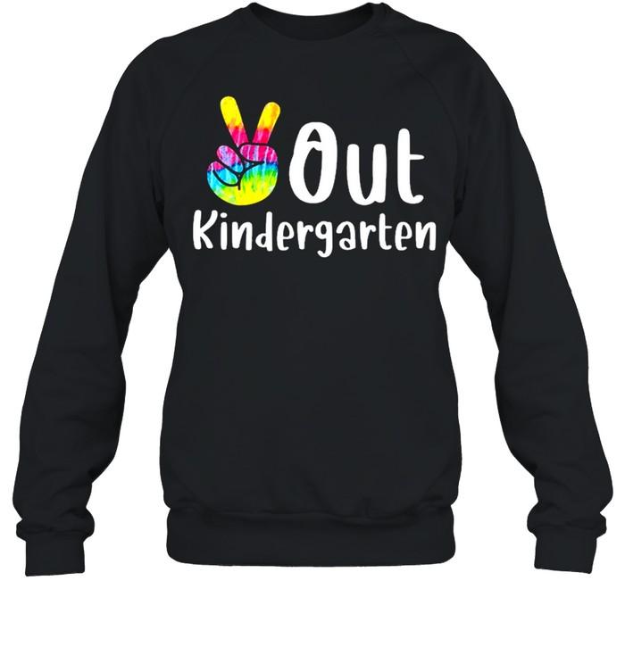 Peace out kindergarten tie dye graduation class of 2021 shirt Unisex Sweatshirt