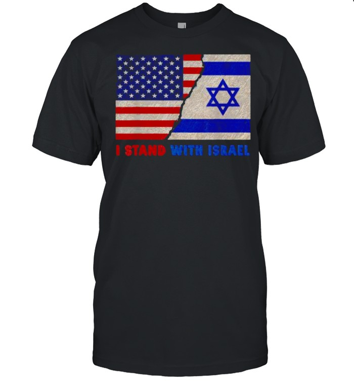 I Stand With Israel Patriotic USA and Israel Flag T- Classic Men's T-shirt