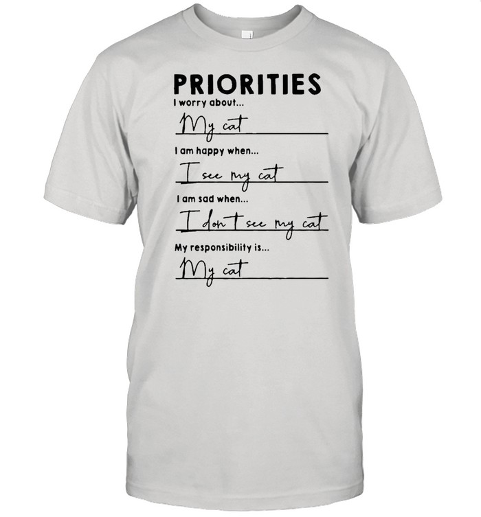 Priorities I worry about I am happy when I see my cat shirt Classic Men's T-shirt