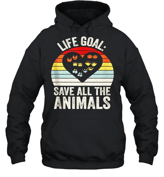 Retro Life Goal Save All The Animals Wildlife Rescue Animal shirt Unisex Hoodie