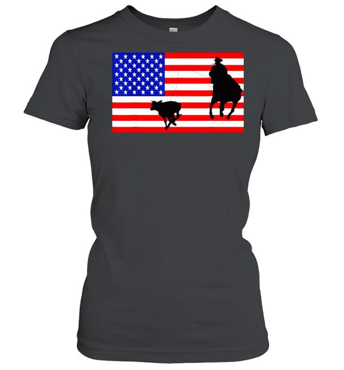 Roping USA American Flag Rodeo Calf Roper 4th Of July shirt Classic Women's T-shirt