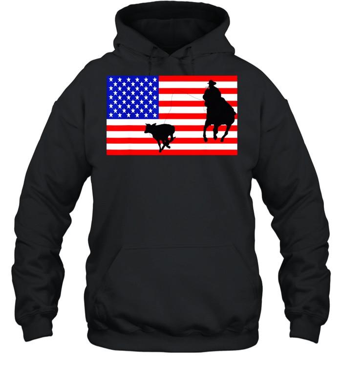 Roping USA American Flag Rodeo Calf Roper 4th Of July shirt Unisex Hoodie