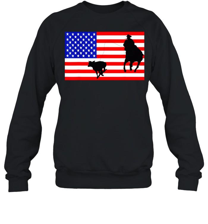 Roping USA American Flag Rodeo Calf Roper 4th Of July shirt Unisex Sweatshirt