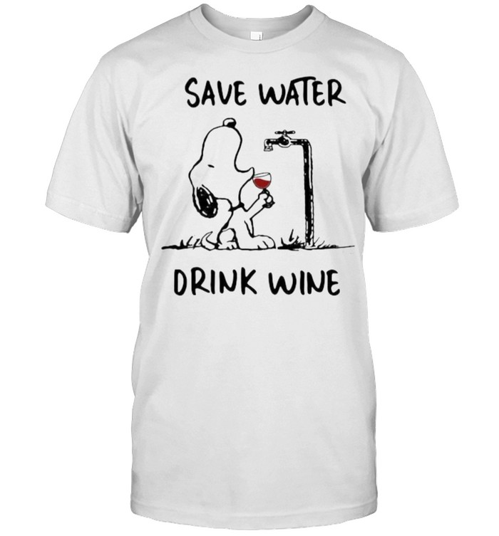 Save Water Drink Wine Snoopy  Classic Men's T-shirt