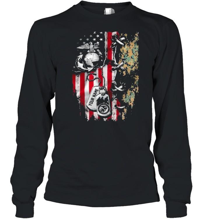 American Flag Veteran  Long Sleeved T-shirt