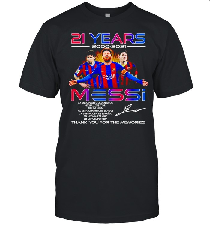 21 years 2000 2021 Messi thank you for the memories shirt Classic Men's T-shirt