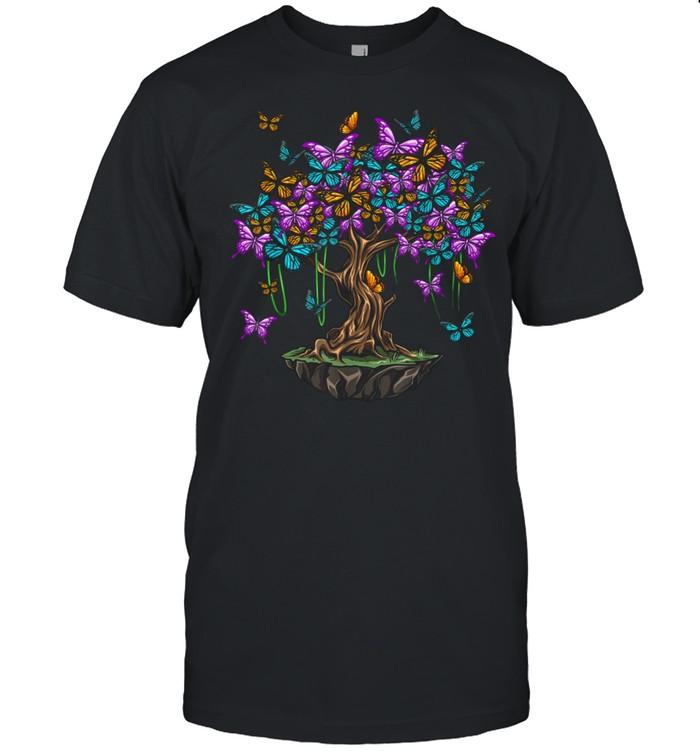 Butterfly Tree Summer Fashion Girls Colorful shirt Classic Men's T-shirt