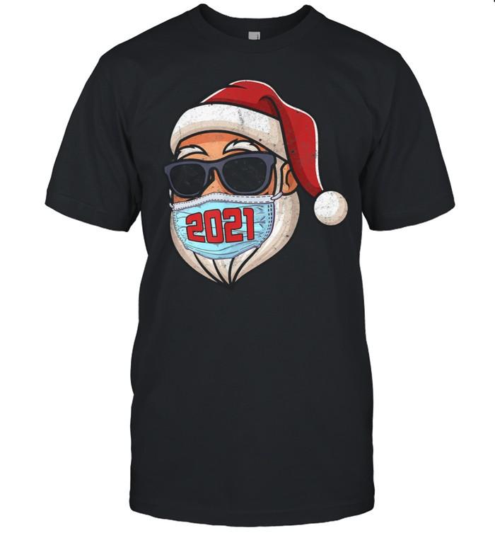 Merry Christmas 2021 Santa In Sunglasses Wearing Mask Shirt Masswerks Store