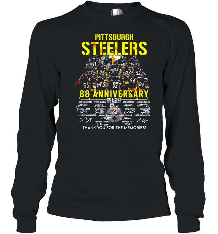 Pittsburgh Steelers 88th Anniversary 1933-2022 Signature Thank You For The Memories T-shirt Long Sleeved T-shirt