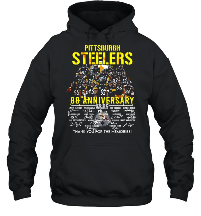 Pittsburgh Steelers 88th Anniversary 1933-2022 Signature Thank You For The Memories T-shirt Unisex Hoodie
