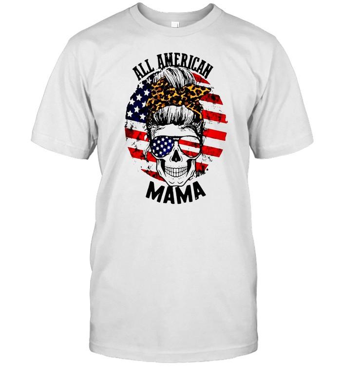 Skull All American Mama Flag T-shirt Classic Men's T-shirt