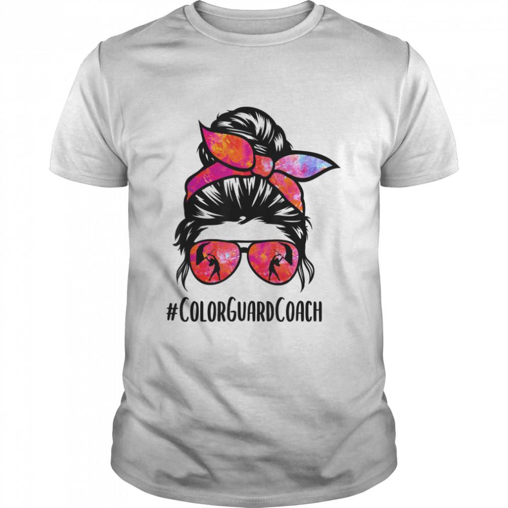 Color Guard Coach messy bun Marching Band School instructor shirt Classic Men's T-shirt