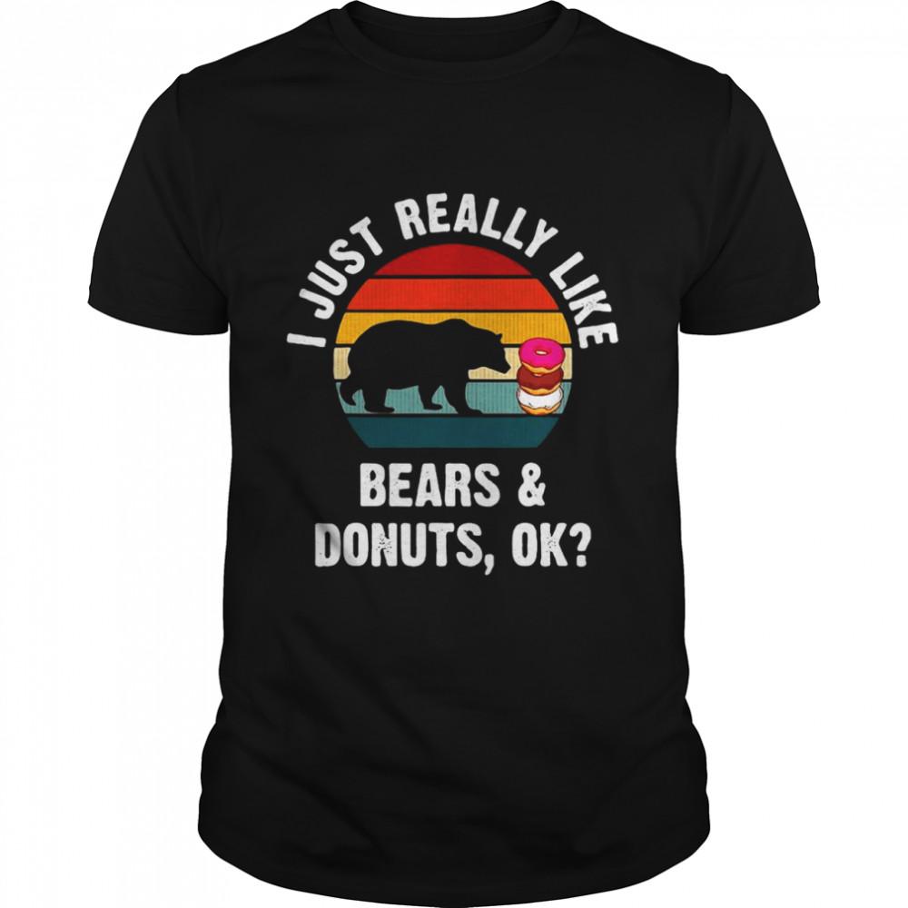 Bears I Just Really Like Bears And Donuts Ok Vintage Retro T-shirt Classic Men's T-shirt