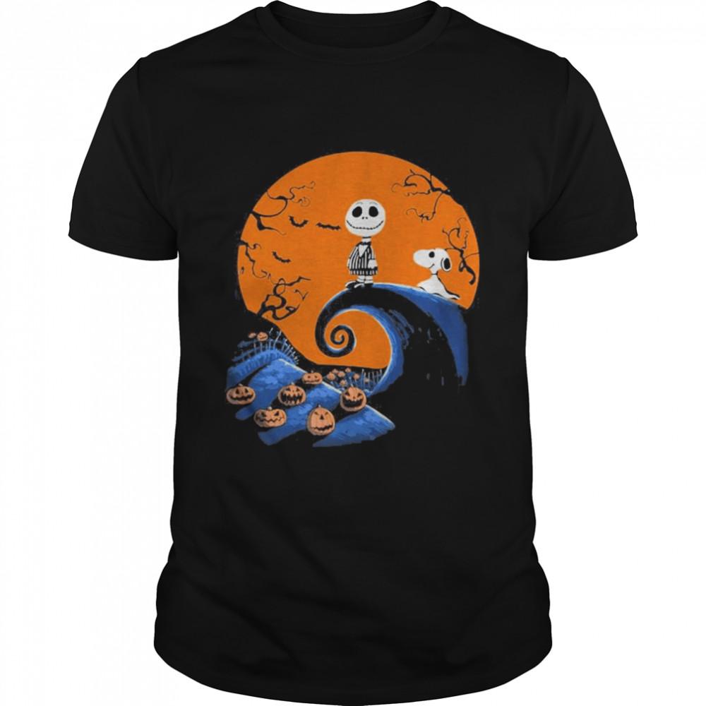 Snoopy and Leatherface pumpkin halloween shirt Classic Men's T-shirt