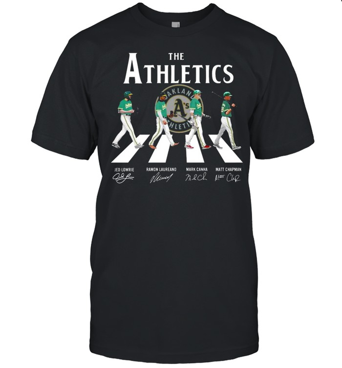 The Oakland Athletics With Lowrie Laureano Canha And Chapman Abbey Road Signatures  Classic Men's T-shirt