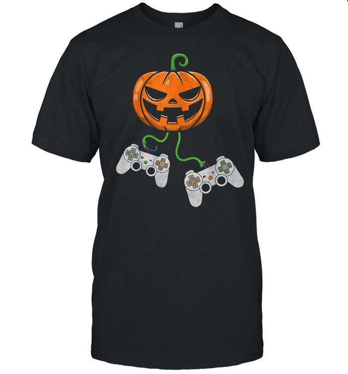 Halloween Video Game Controller Pumpkin shirt Classic Men's T-shirt