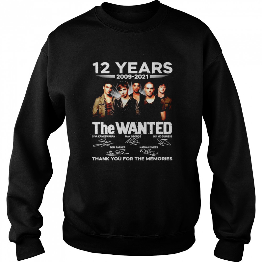 12 years The Wanted 2009 2021 thank you for the memories shirt Unisex Sweatshirt