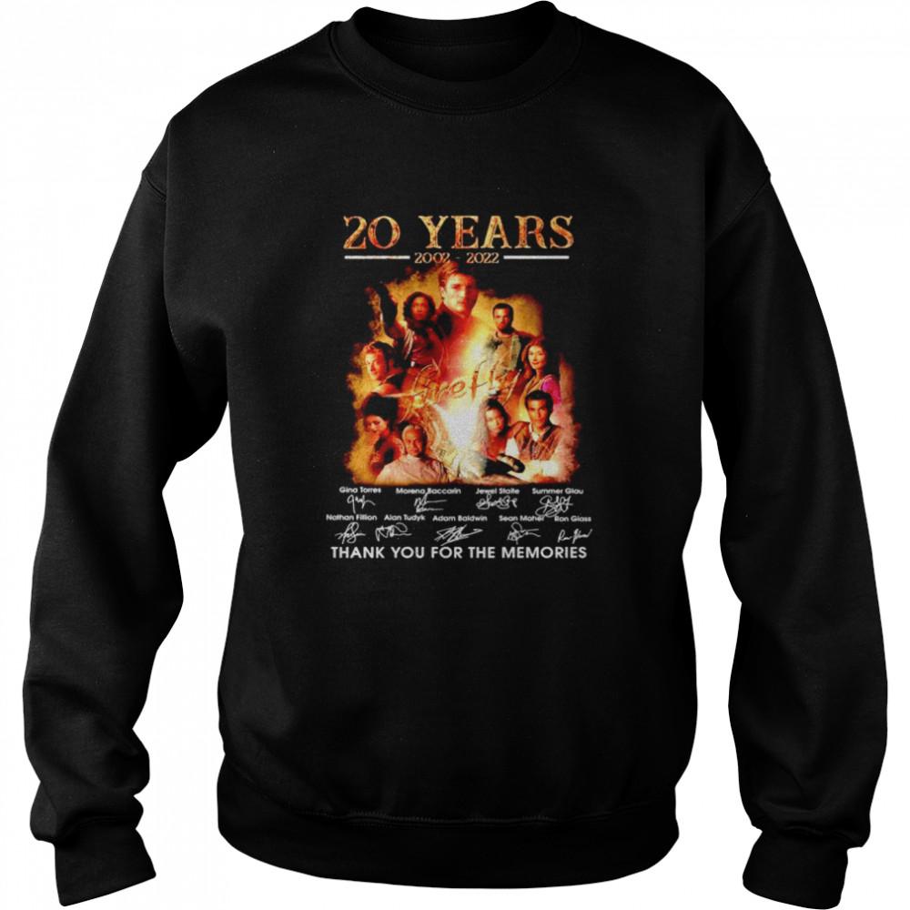 20 years 2002 2022 Firefly thank you for the memories shirt Unisex Sweatshirt