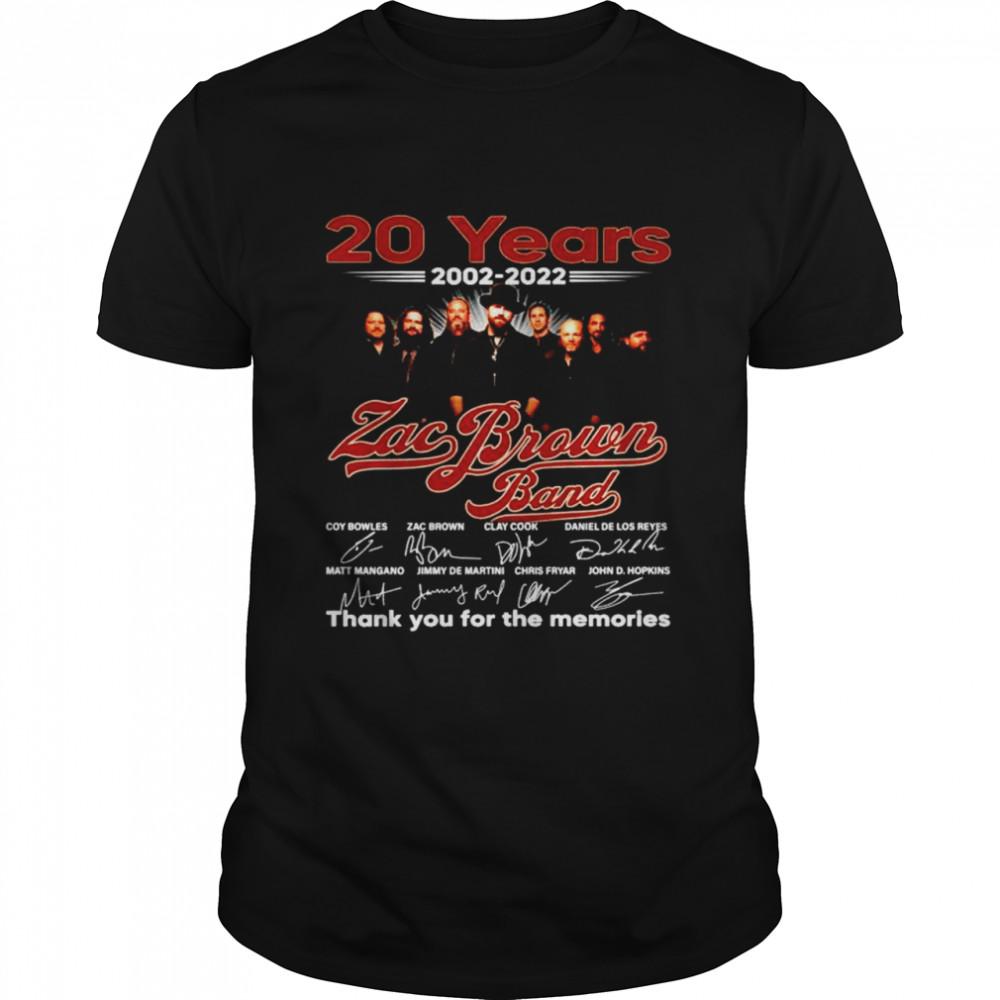20 years 2002 2022 Zac Brown thank you for the memories shirt Classic Men's T-shirt