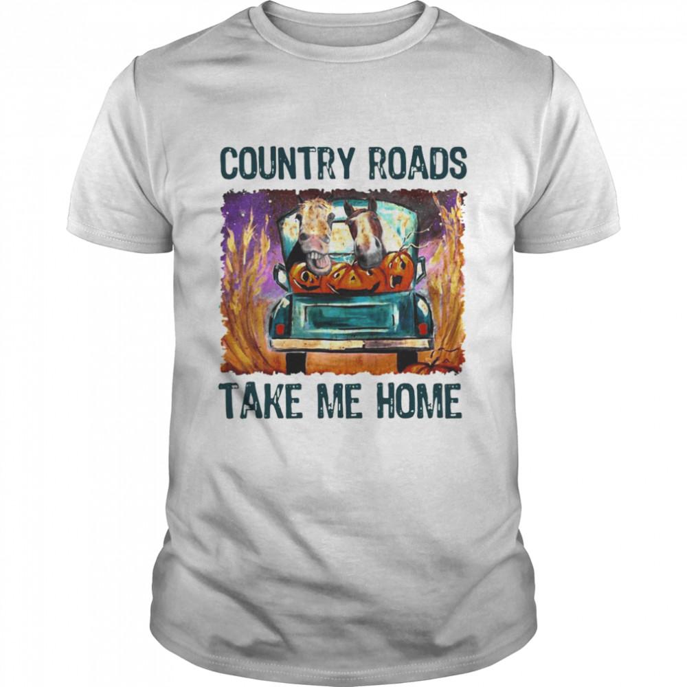 Horse Country Roads Take Me Home T-shirt Classic Men's T-shirt