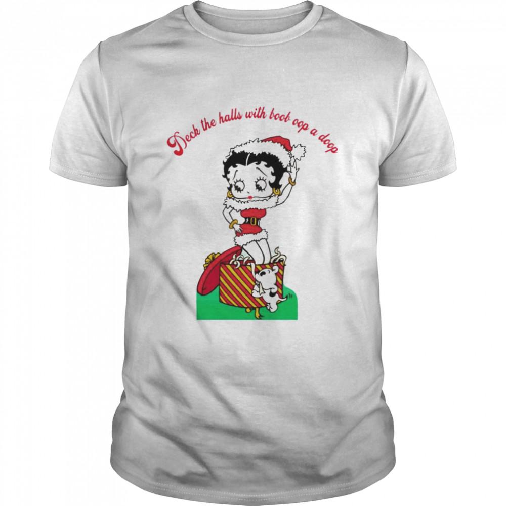 Betty Boop Deck the halls with boob oop a doop Christmas shirt Classic Men's T-shirt