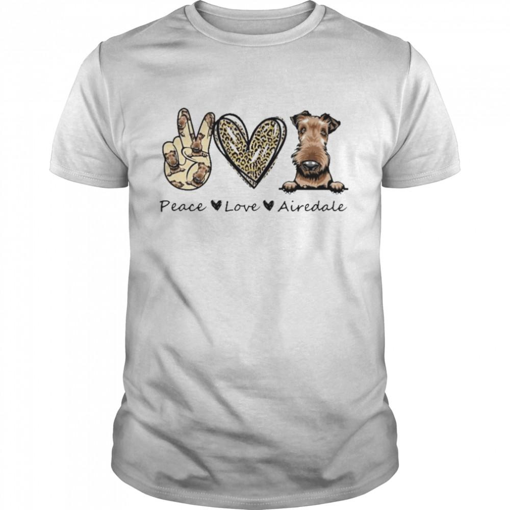 peace Love Airedale Dog Leopard shirt Classic Men's T-shirt