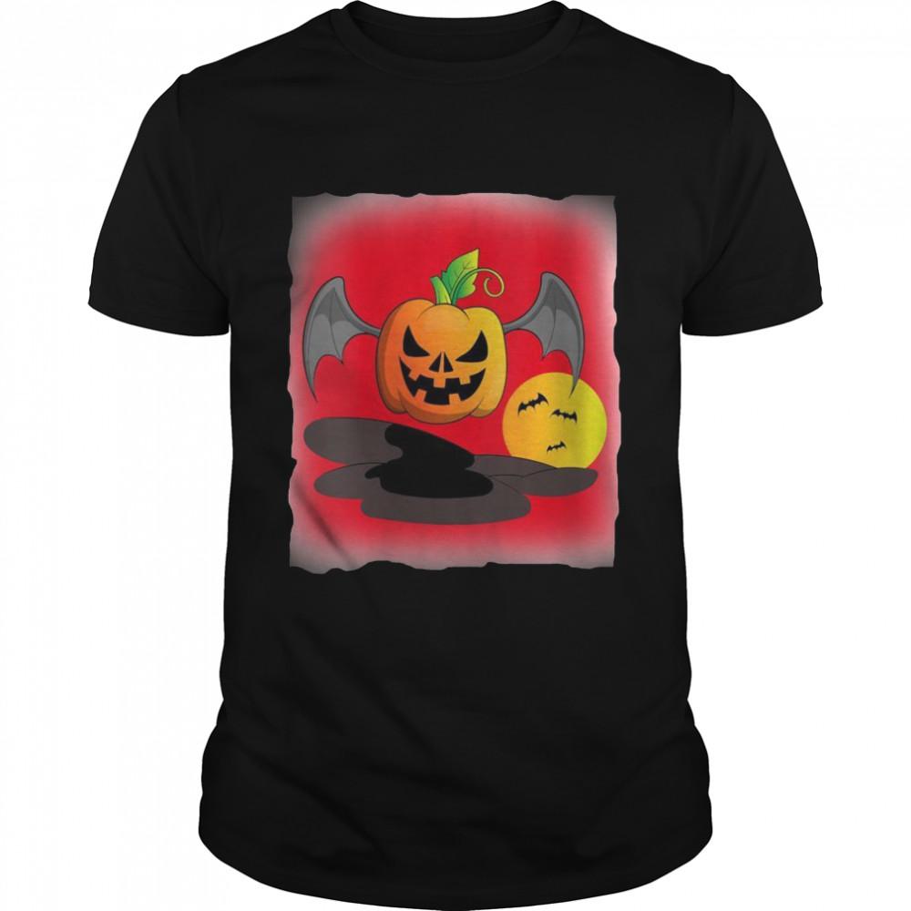 Creepy Bat Pumpkin Jack O Lantern Halloween Costume Pumpkin  Classic Men's T-shirt