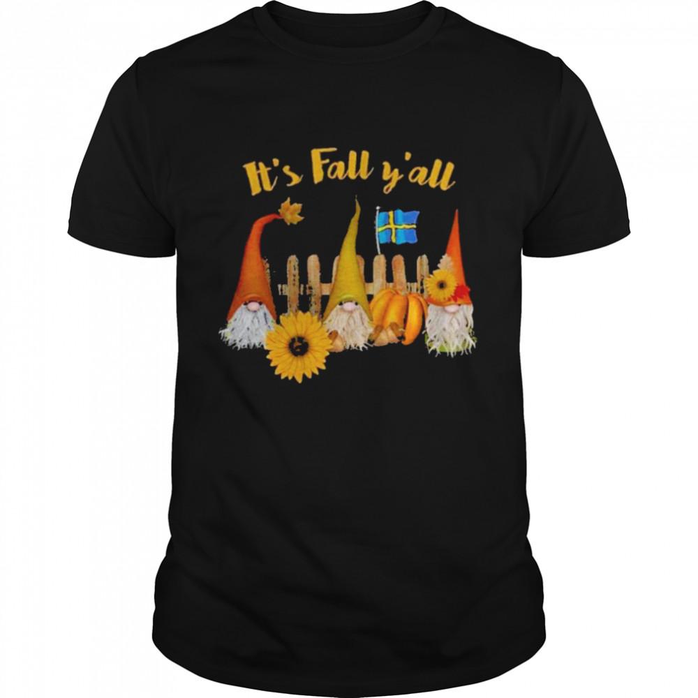 Gnomes it's fall Y'all Finland flag shirt Classic Men's T-shirt